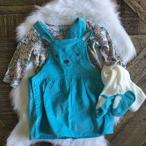 CARTER'S Bunny Blue Corduroy Jumper Set